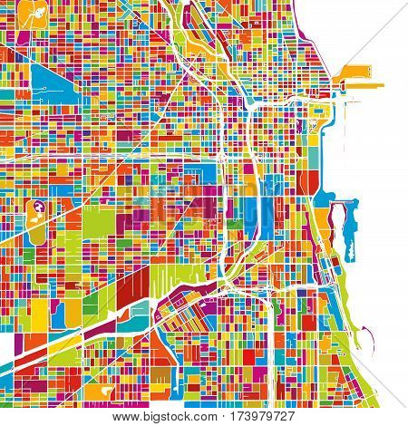 Chicago, Usa, Colorful Vector Map