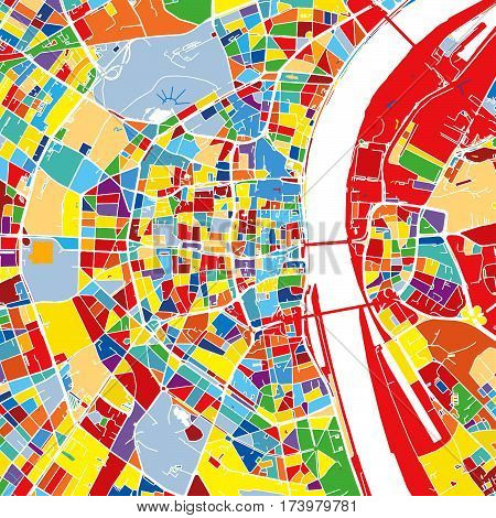 Cologne, Germany, Colorful Vector Map