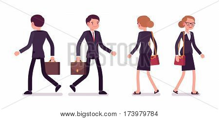 Set of young smiling and happy professional businessmen in a formal wear, walking poses, fellow workers going to the office or company, full length, front and rear view isolated, white background