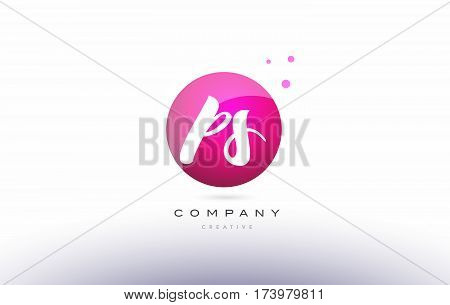 Ps P S  Sphere Pink 3D Hand Written Alphabet Letter Logo