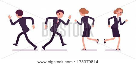 Set of young sad unhappy businessmen in formal wear, running poses, in a hurry to the office, late for work, overload with task, full length, front and rear view isolated against white background