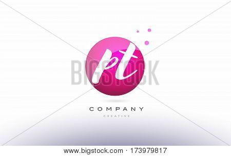 Pt P T  Sphere Pink 3D Hand Written Alphabet Letter Logo
