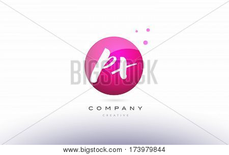 Px P X  Sphere Pink 3D Hand Written Alphabet Letter Logo