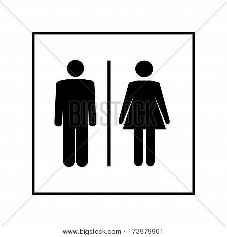 WC icon. Silhouette men and women on white background. Icon public toilette and bathroom for hygiene. Sign restroom women and men. Template for postersign. Flat vector image. Vector illustration.