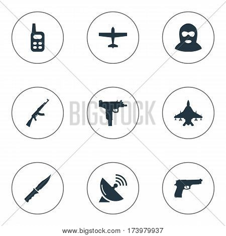 Set Of 9 Simple Battle Icons. Can Be Found Such Elements As Sky Force, Cold Weapon, Walkies And Other.
