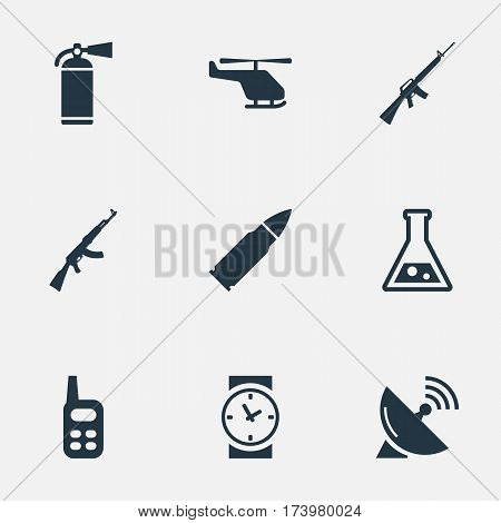 Set Of 9 Simple Terror Icons. Can Be Found Such Elements As Helicopter, Rifle Gun, Chemistry And Other.