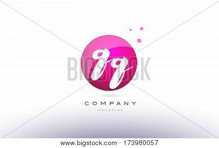Qq Q Q  Sphere Pink 3D Hand Written Alphabet Letter Logo
