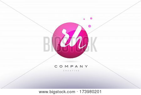 Rh R H  Sphere Pink 3D Hand Written Alphabet Letter Logo