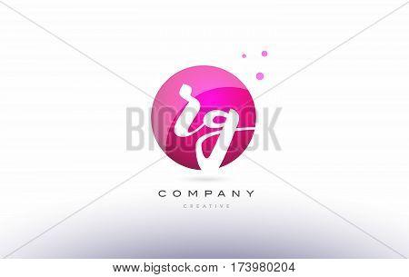 Rg R G  Sphere Pink 3D Hand Written Alphabet Letter Logo