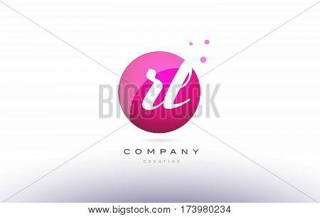 Rl R L  Sphere Pink 3D Hand Written Alphabet Letter Logo