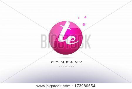 Te T E  Sphere Pink 3D Hand Written Alphabet Letter Logo