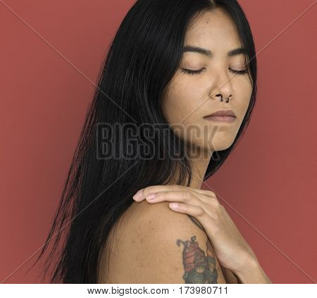 Woman Pierced Nose Ring Bare Chest Arts Calm Peaceful