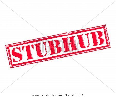 STUBHUB RED Stamp Text on white backgroud