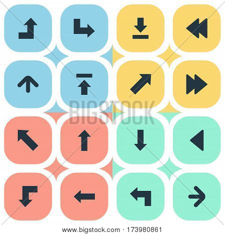 Set Of 16 Simple Pointer Icons. Can Be Found Such Elements As Pointer, Downwards Pointing, Indicator And Other.
