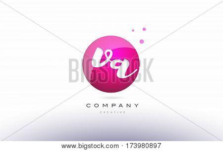 Va V A  Sphere Pink 3D Hand Written Alphabet Letter Logo