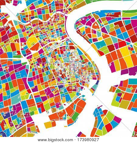 Shanghai, China, Colorful Vector Map