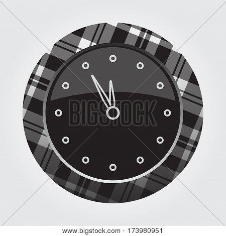 black isolated button with gray black and white tartan pattern on the border - light gray last minute clock icon in front of a gray background