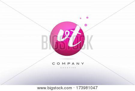 Vt V T  Sphere Pink 3D Hand Written Alphabet Letter Logo
