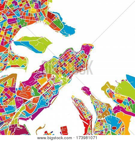 Valetta, Malta, Colorful Vector Map