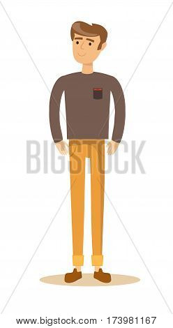 Portrait of a handsome young smiling man. Isolated on white background. Stock illustration