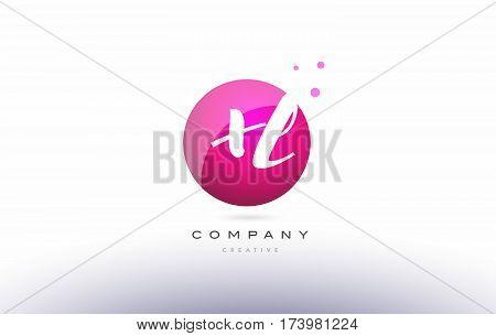 Xl X L  Sphere Pink 3D Hand Written Alphabet Letter Logo