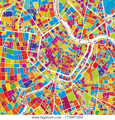 Vienna, Austria, Colorful Vector Map