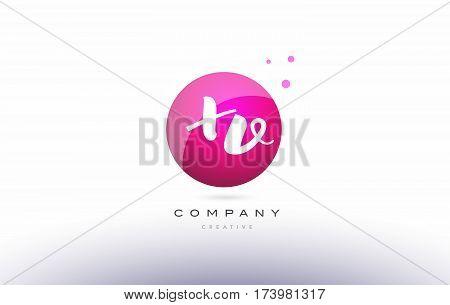 Xv X V  Sphere Pink 3D Hand Written Alphabet Letter Logo