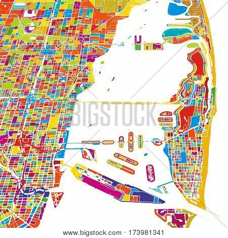 Miami And Miami Beach Colorful Vector Map