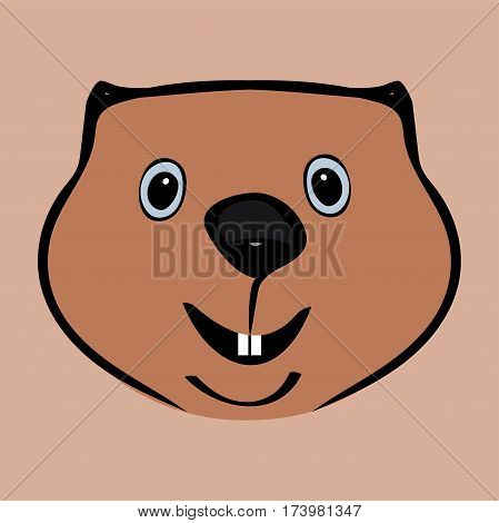 Happy Groundhog Day funny cute head. Vector illustration