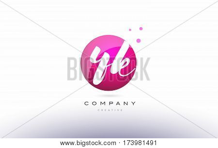 Yk Y K  Sphere Pink 3D Hand Written Alphabet Letter Logo