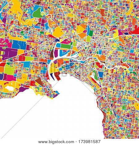 Melbourne Colorful Vector Map