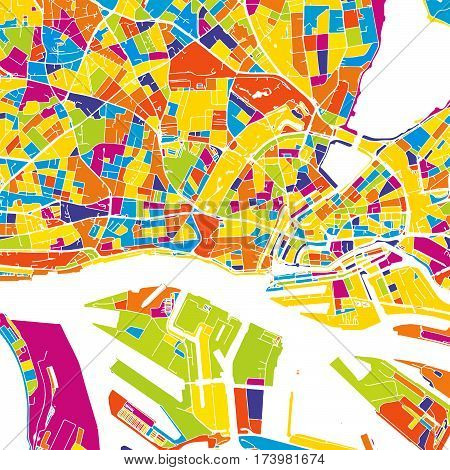 Hamburg Colorful Vector Map