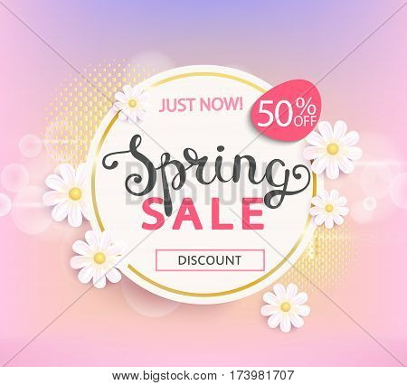 Spring sale label with beautiful flower. Vector illustration template and banners wallpaper flyers invitation posters brochure and voucher discount.