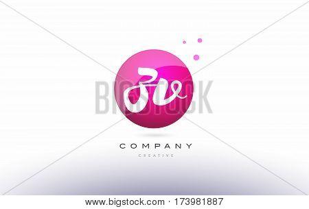 Zv Z V  Sphere Pink 3D Hand Written Alphabet Letter Logo
