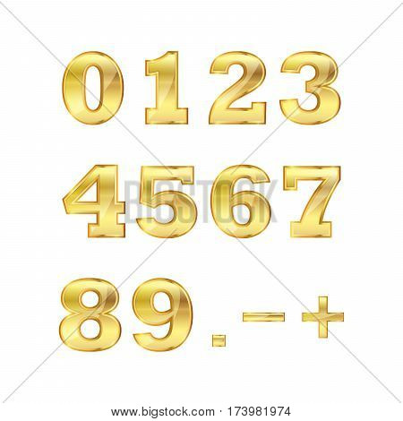 Set of golden numbers. Vector illustration. Golden glossy numbers on white background.