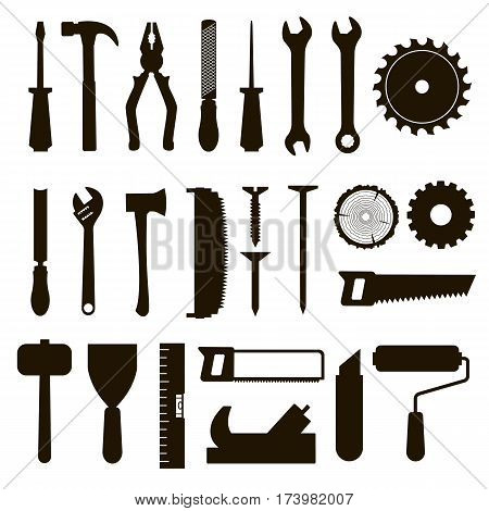 Set of icon tools black color for carpentry service, repair service, lumberjack, sawmill and woodwork isolated on white background. Vector illustration