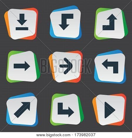 Set Of 9 Simple Arrows Icons. Can Be Found Such Elements As Let Down, Right Direction, Reduction And Other.
