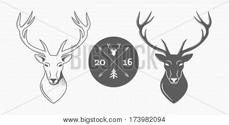 Deer head isolated logo set on white background for hunter club, hunting. Vector Illustration