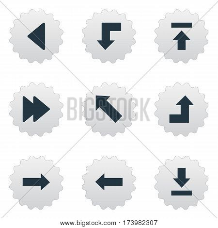 Set Of 9 Simple Pointer Icons. Can Be Found Such Elements As Right Direction, Let Down, Transfer And Other.