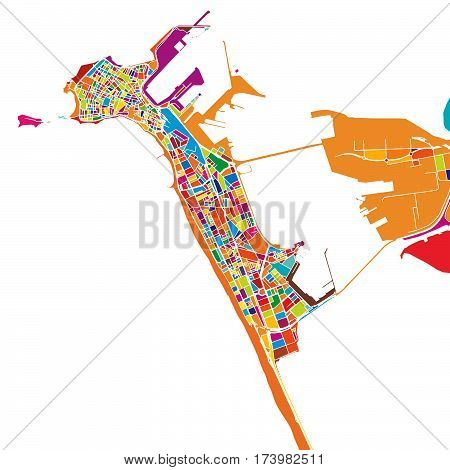 Cádiz Colorful Vector Map