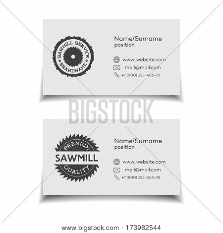 Business card for sawmill service on white background. Vector illustration
