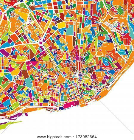 Lisbon Colorful Vector Map