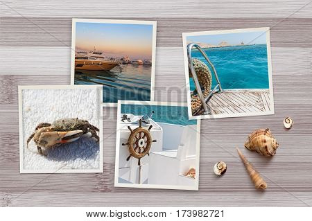 Beautiful seaside snapshots arranged on rustic wooden background with seashells with copy space top view. Summer vacation and voyage concept