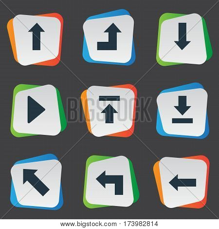 Set Of 9 Simple Cursor Icons. Can Be Found Such Elements As Right Landmark, Pointer , Downwards Pointing.