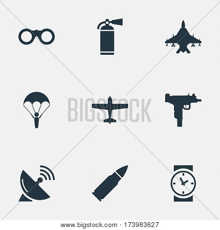Set Of 9 Simple War Icons. Can Be Found Such Elements As Paratrooper, Air Bomber, Extinguisher And Other.