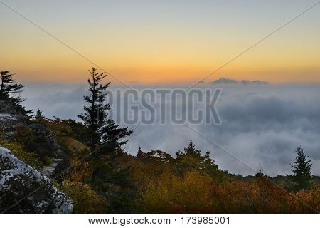 Dawn From Foggy Mountain Top in West Virginia