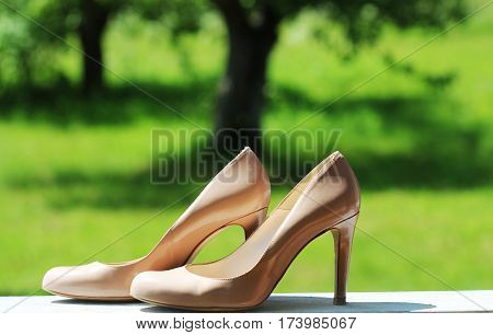 High heel women shoes on table in garden ( green background )