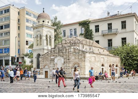 ATHENS, GREECE, SEPTEMBER 9,2016: Exterior shot of The Church of the Pantanassa,the 10th-century katholikon of a now-vanished monastery in Monastiraki Square, between Athinas and Mitropoleos streets.