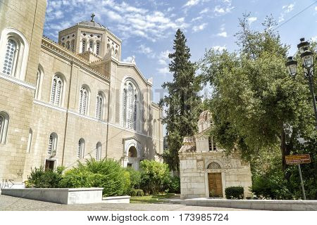 ATHENS, GREECE, SEPTEMBER 9, 2016: Exterior shot of Church of St. Eleftherios (Little Mitropoli) in front of Metropolitan Cathedral of Athens, church of the Archbishopric of Athens and all Greece
