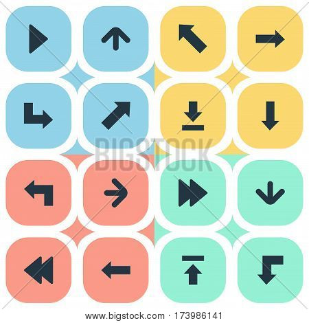 Set Of 16 Simple Pointer Icons. Can Be Found Such Elements As Pointer, Pointer , Right Landmark.